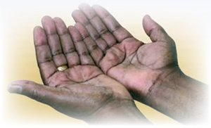 Abebe looking at his healed wrist