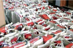 Food bags in warehouse awaiting distribution