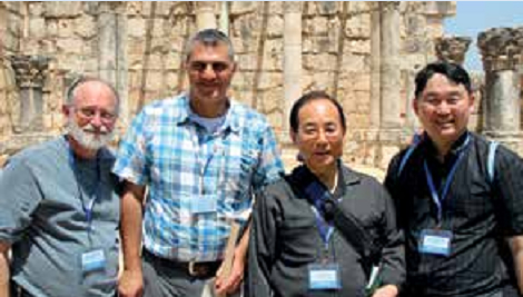 Eitan & Sahar with Korean brothers in Peter's neighborhood synagogue